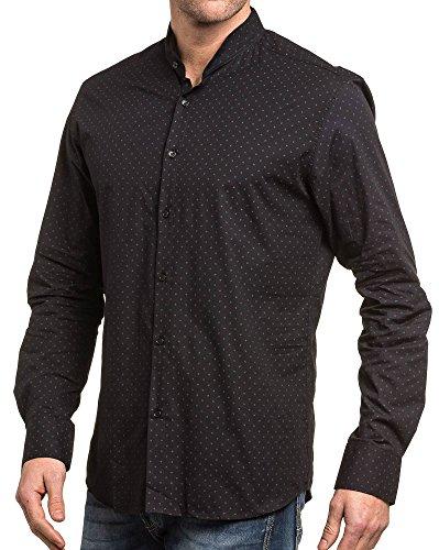 BLZ jeans - schicke schwarze Mann gemustertes Hemd Schwarz