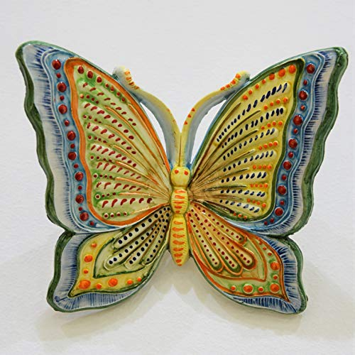 Farfalla media in ceramica dipinta a mano