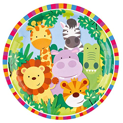 amscan 9901916 8 Papierteller Dschungel Tiere, Mehrfarbig (Trolley Safari)