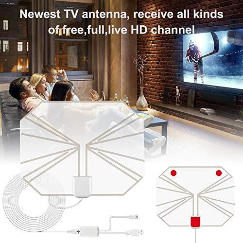 -Antenne, Indoor-HD-TV-Antenne Mit Signalverstärker 80-Meilen-Fernzugriff 4K 1080P UKW UHF Empfängt Hochauflösende Drahtlose Fernsehsignale Für Intelligentes Heimfernsehen ()