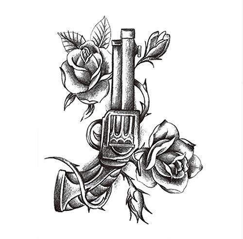Lfvguiop autoadesivo del tatuaggio temporaneo del pezzo autoadesivi del tatuaggio falso di arte del tatuaggio del corpo del fiore pieno delle rose nere di disegno