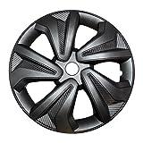 """4X Radkappen Carbon Grey Auto Radzierblenden Silber Grau 14"""" Zoll"""