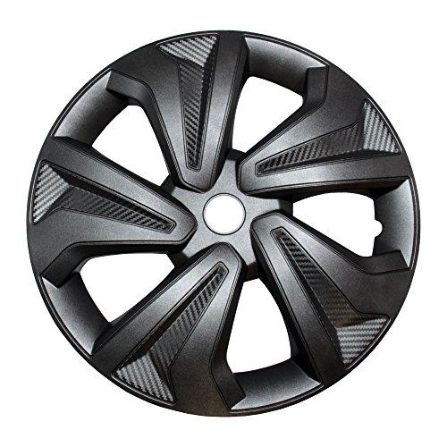 """4X Radkappen Carbon Grey Auto Radzierblenden Silber Grau 15"""" Zoll"""