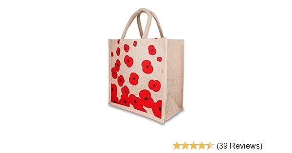 5 x Luxury poppy print jute bags 5 pcs.