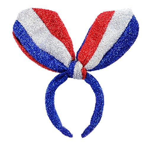 Tinksky Patriotique Bandeau Drapeau Américain Chapeaux Lapin Lapin Oreille Bande de Cheveux pour la Fête de l'Indépendance Cosplay Costume Accessoire