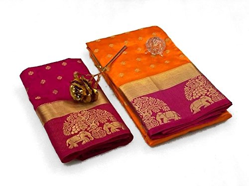Most Beautiful Orange WIth Pink Tree -Elephant BOrder Tussar Silk Saree With Contrast BOrder And Pallu