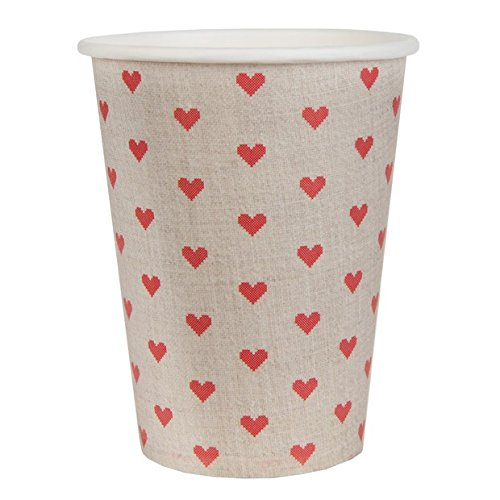Chal - 20 Gobelets en Carton Tradition Coeur Rouge