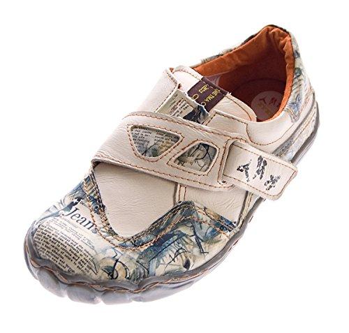 TMA Damen Echt Leder Comfort Schuhe 1901 Halbschuhe Slipper Weiß/N Turnschuhe Sneakers Used Look Gr. 40 (Halbschuhe Damen Leder)