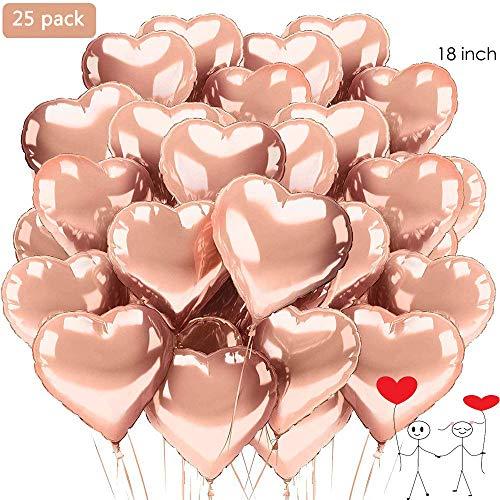 XUNKE Herz Folienballon, 25 Stück Herz Helium Luftballons Herzluftballons Heliumballon Folienballon Hochzeit Folienluftballon Geeignet für Geburtstag Brautdusche Valentinstag(Rosegold-25pcs) Gold-folie-deckel