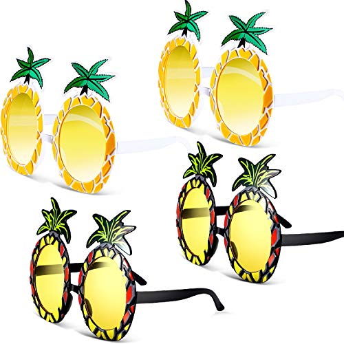 Chinco 4 Paar Ananas Sonnenbrille Ananas Form Brille Hawaiian Tropical Sonnenbrille Dekoration für Kleid Kostüm Party Zubehör, 2 Stil