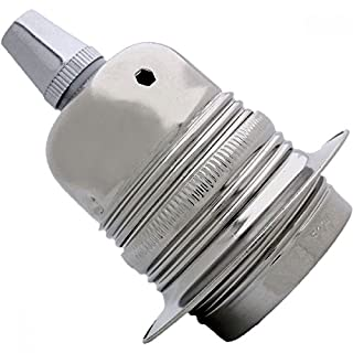 Edison Screw (E27) Metal and Ceramic Earthed Bulb Holder in Silver Nickel Finish with Metal Cord Grip
