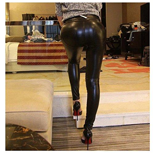 ZEARO Elegant Damen Skinny Legging Stretch PU Leder Look Optik Leggings - 2
