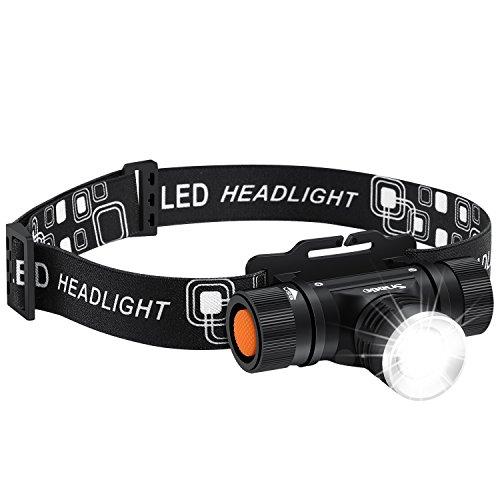 LED Stirnlampe, Snado 2000 lumen 3 Modi Wasserdicht Wiederaufladbare Kopflampe Taschenlampe für Radfahren, Jagd, Laufen, Hund, Walking, Camping, Wandern, Angeln, Nacht Lesen und DIY funktioniert.