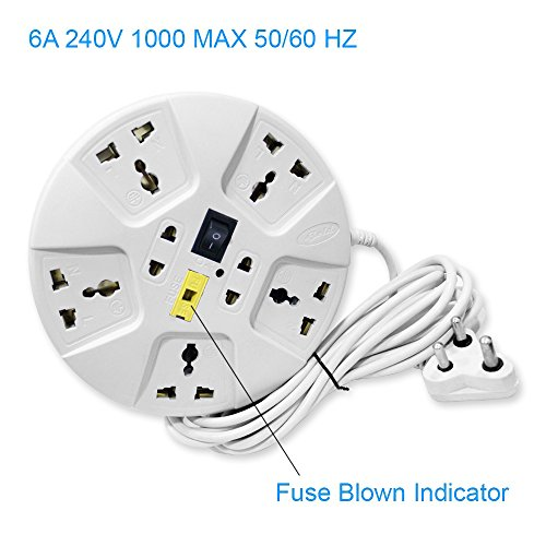 Elove Multi-Plug Point Extension Board with Master Switch, LED Indicator and Universal Socket, 2.8M, 6A (White, Round-Extension-Wht)