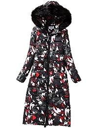 Anguang Mujer Abrigo de Invierno Cremallera Acolchado Chaqueta Largo con Capucha de Manga Larga