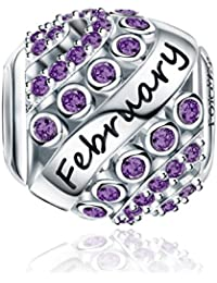 Forever Queen Birthstone Charms fit Charms Bracelet- 925 Sterling Silver Bead Charms, Happy Birthday 12 Colors Jan-Dec Openwork Charms for Bracelet and Necklace FQ0004