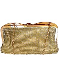 Bridle/Party Clutch With Drizzling Stones-Golden