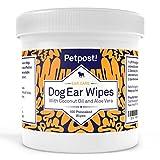 Petpost Lingettes nettoyantes pour oreilles de chiens - 100 compresses ultra douces à l'huile de noix de coco et aloe - Traitement pour infection des oreilles et acariens
