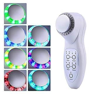 Perfectii Kosmetisches Ultraschallgerät / ION / Photon mit 7 Modi Lichte, LED-Therapie Schönheitsgerät Tragbare Gesicht Massagegeräte Verjüngen 3 MHz für Körper und Gesicht Falten