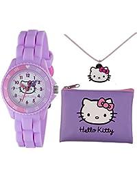 Juego de Hello Kitty con reloj, cartera y collar, en color lila