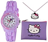 Tikkers Hello Kitty lilla cinturino in gomma silicone Time Teacher Watch, Purse & Necklace set – AHK032