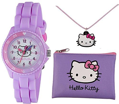 Ensemble de montre d'apprentissage horaire Tikkers avec bracelet en caoutchouc en silicone lilas Hello Kitty pour files, sac à main et collier - AHK032