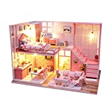 ToDIDAF Wooden Dollhouse 3D DIY Miniature Furniture LED House Art Cottage Model Educational Toy for...