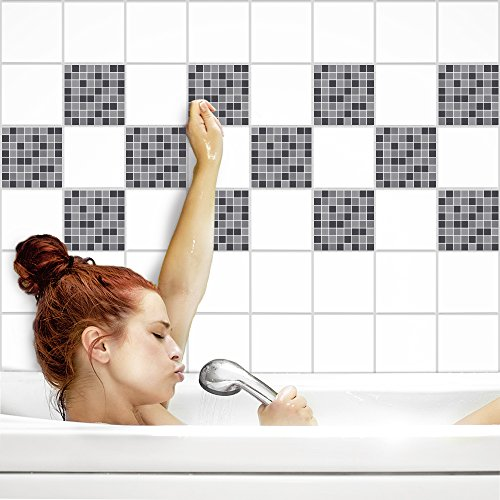 Fliesenaufkleber für Küche und Bad | Fliesenfolie für 15x20cm Fliesen | Mosaik graue Katze glänzend | 8 Stück | Klebefliesen günstig in 1A Qualität von PrintYourHome