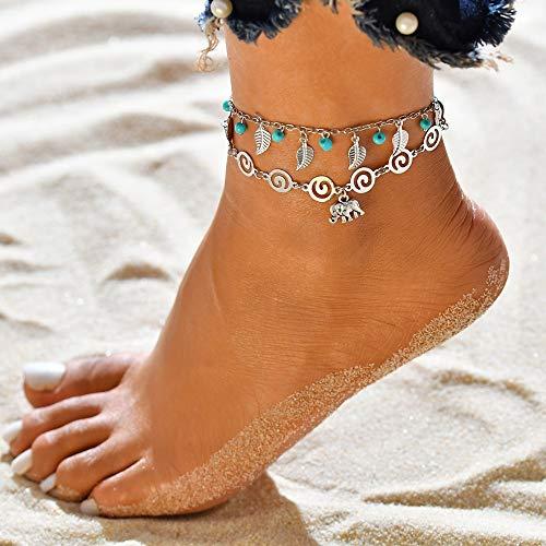 Jovono Blue Boho Perlen Fußkettchen Multi Layered Leaf Fußkettchen Armbänder Beach Foot Schmuck für Frauen und Mädchen (Elefant)