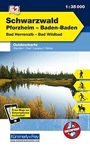 K&F Deutschland Outdoorkarte 52 Schwarzwald 1 : 35 000: Pforzheim - Baden-Baden - Bad Herrenalb - Bad Wildbad (Kümmerly+Frey Outdoorkarten Deutschland)