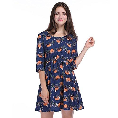 Wangyue Frauen Niedliche Sloth Print 3/4 Ärmel Flared Shirt Kleid Schlittschuhläufer Kleid Marine XL