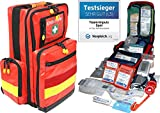 Erste Hilfe Notfallrucksack Betriebssanitäter mit autom. Blutdruckmessgerät & Stethoskop Plane mit gelben Reflexstreifen