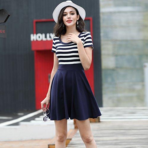 MIUSOL Sommer Vintage Streifen Rundhals Retro Schwingen Pinup Rockabilly 1950er Kleid Navy Blau - 4