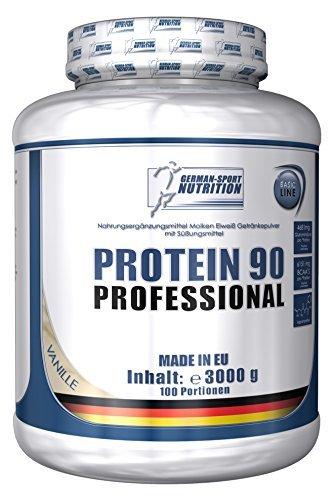Protein 90 Professional, 3000 g Eiweißpulver Eiweißshake Proteinshake 3 Kg Vanille + Whey Isolat