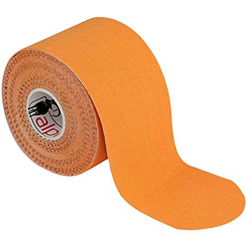 1 rollo Kinesiology tape 5 m x 5,0 cm en 11 colores Quinesiología Cinta Elástica Banda Fisioterapia, Color:naranja