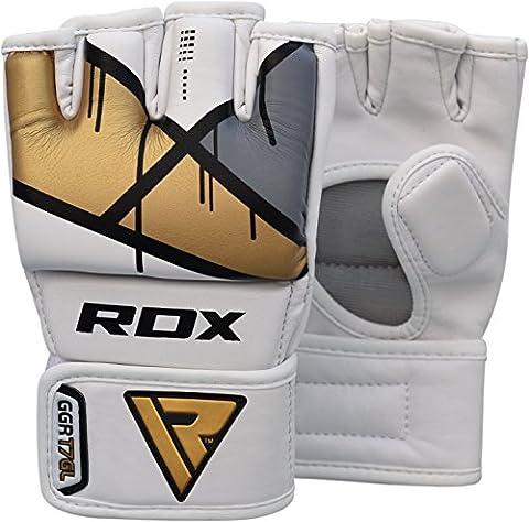 RDX Maya Hide Cuir MMA Gants Entrainement Art Martiaux Kickboxing Sparring UFC Sac De Frappe Combat - D'or - S