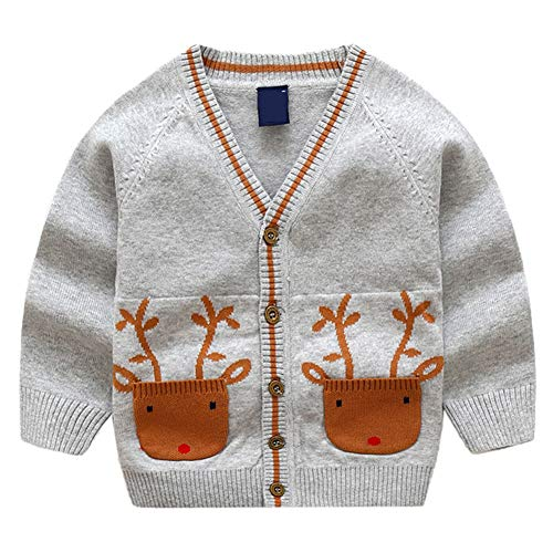 Kleinkinder Baby Mädchen Jungen Strickjacke Strickpullover Weihnachten Jacke Langram Rundals Cardigan Sweatshirt Grau 130