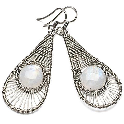 stargems (TM) natur Top Qualität Regenbogen Mondstein 925Sterling Silber Ohrringe 21/10,2cm