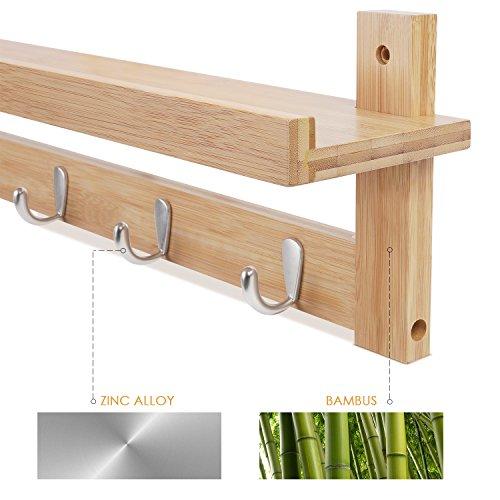 Homfa portalettere da parete in bamb con 5 ganci - Porta asciugamani da parete ...