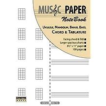 MUSIC PAPER NoteBook - Ukulele, Mandolin, Banjo, Bass, Chord & Tablature