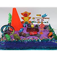 20 Piece CARS LIGHTNING McQUEEN, MATER, and Crew Birthday Cake Topper Featuring CARS Characters and Decorative Themed Accessories