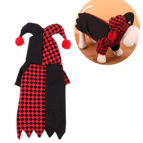 JLCYYSS Hund Katze Halloween Clown Kostüm, Haustier Cosplay Kostüme, Warme Outfits Fleece Hoodie Tier Herbst Winter Kleidung,XS