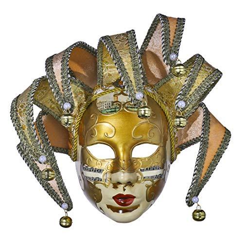YU FENG Harz Musik Jester Venezianische Maske Maskerade Karneval Wand Dekorative Kunst Sammlung (Gelb)