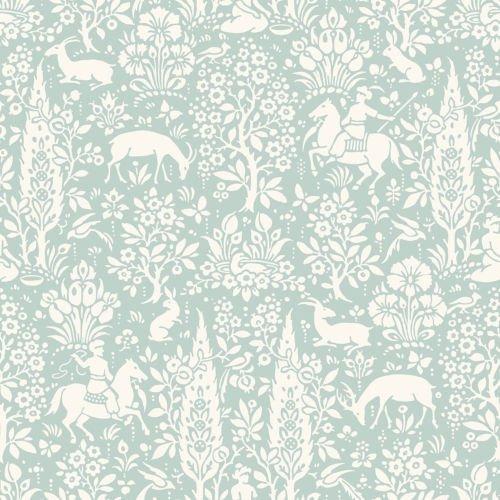 Animal Print Tapete Woodland Kaninchen lieben Blumen Floral Birds duck egg Blumen-print-tapete