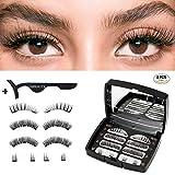 3D Magnetische Wimpern,Neueste Hibeauty Künstliche Wimpern Set,Natural Look Falsche Wimpern mit 3 Magneten,Dual Magneten Magnetic False Eyelashes+Edelstahl Pinzette,Wiederverwendbar