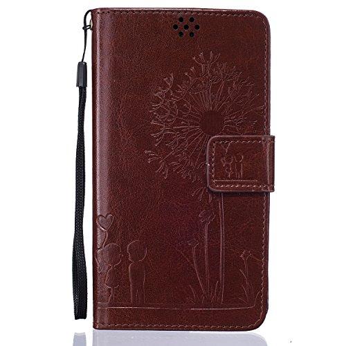 Meet de Dandelion gaufré pour Apple iPhone 6 / iphone 6S Case, Folio pour Apple iPhone 6 / iphone 6S PU Housse,Wallet / flip étui / Pouch / Case / Holster / Wallet / Case en cuir Wallet Style de couve brun