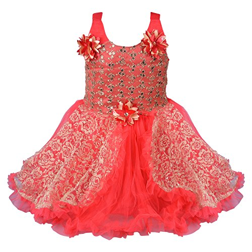 Wish Karo Baby Girls Frock Dress (DN fe1223t_Red_12-18 Mths)