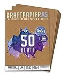 50 Blatt Kraftpapier A5 Set - 260 g - 14,8 x 21 cm - DIN Format - Bastelpapier & Naturkarton Pappe Blätter aus Kraftkarton zum Drucken, Kartonpapier Basteln für Vintage Hochzeit Geschenke Etiketten