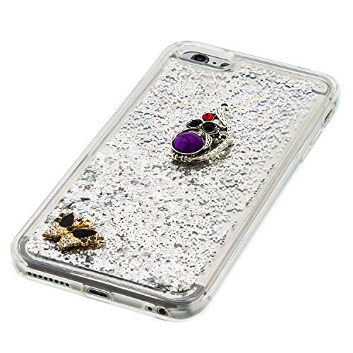 """MOONCASE iPhone 6S Plus Coque, Glitter Sparkle Bling [Owl] Faux Diamant Dessin Motif Liquide Étui Coque pour iPhone 6 Plus / 6S Plus 5.5"""" Soft TPU Gel Souple Case Housse de Protection Or 04 Argent 04"""