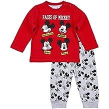 Ensemble pantalon et t-shirt bébé garçon Mickey Rouge/gris de 3 à 24mois